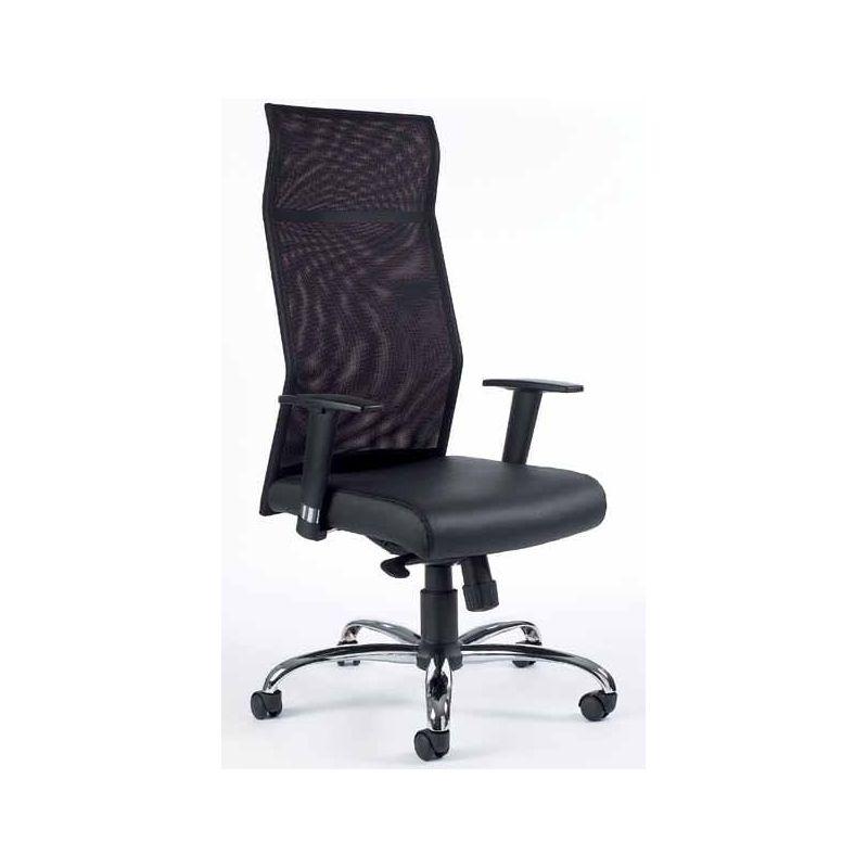 fauteuil de bureau dossier haut en maille hode cuir noir. Black Bedroom Furniture Sets. Home Design Ideas