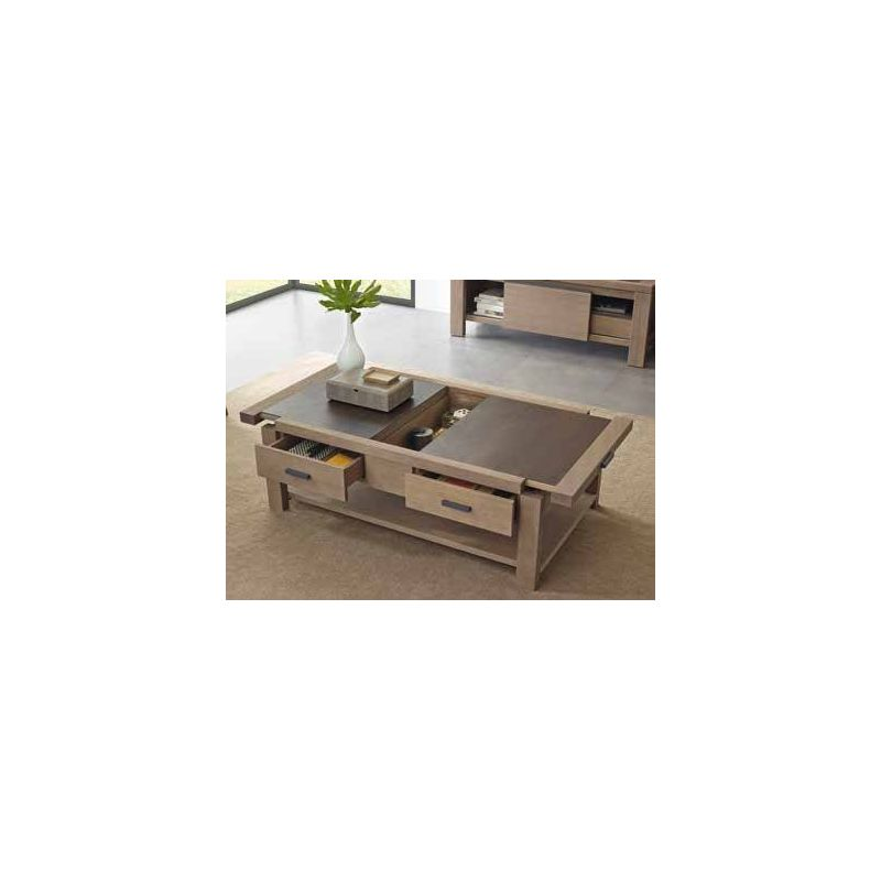 Table basse coffre en pin d 39 or gon et c ramique - Table basse pratique ...