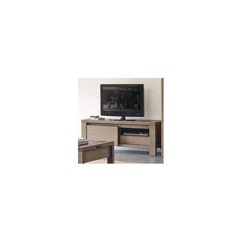 Meuble tv ranch en pin d 39 or gon avec 1porte coulissante for Meuble tv large