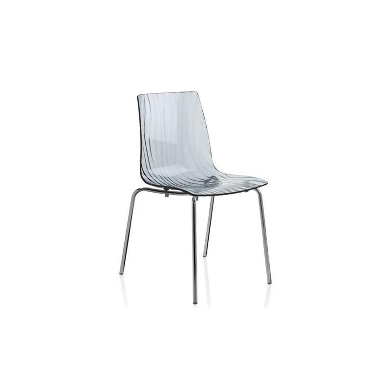 chaise 4 pieds design en polycarbonate calima 4 pieds gris fum. Black Bedroom Furniture Sets. Home Design Ideas
