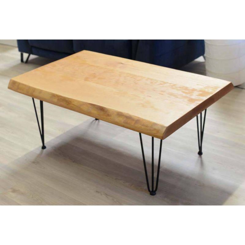 Table base pieds épingle dessus massif